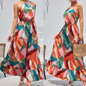 Boho patchwork print ruffle hem halter dress